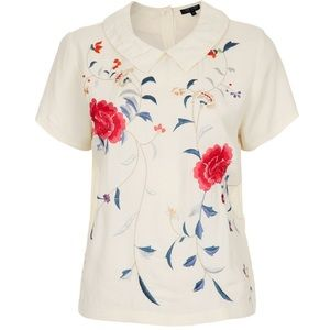 Topshop floral embroidered Peter Pan collar blouse